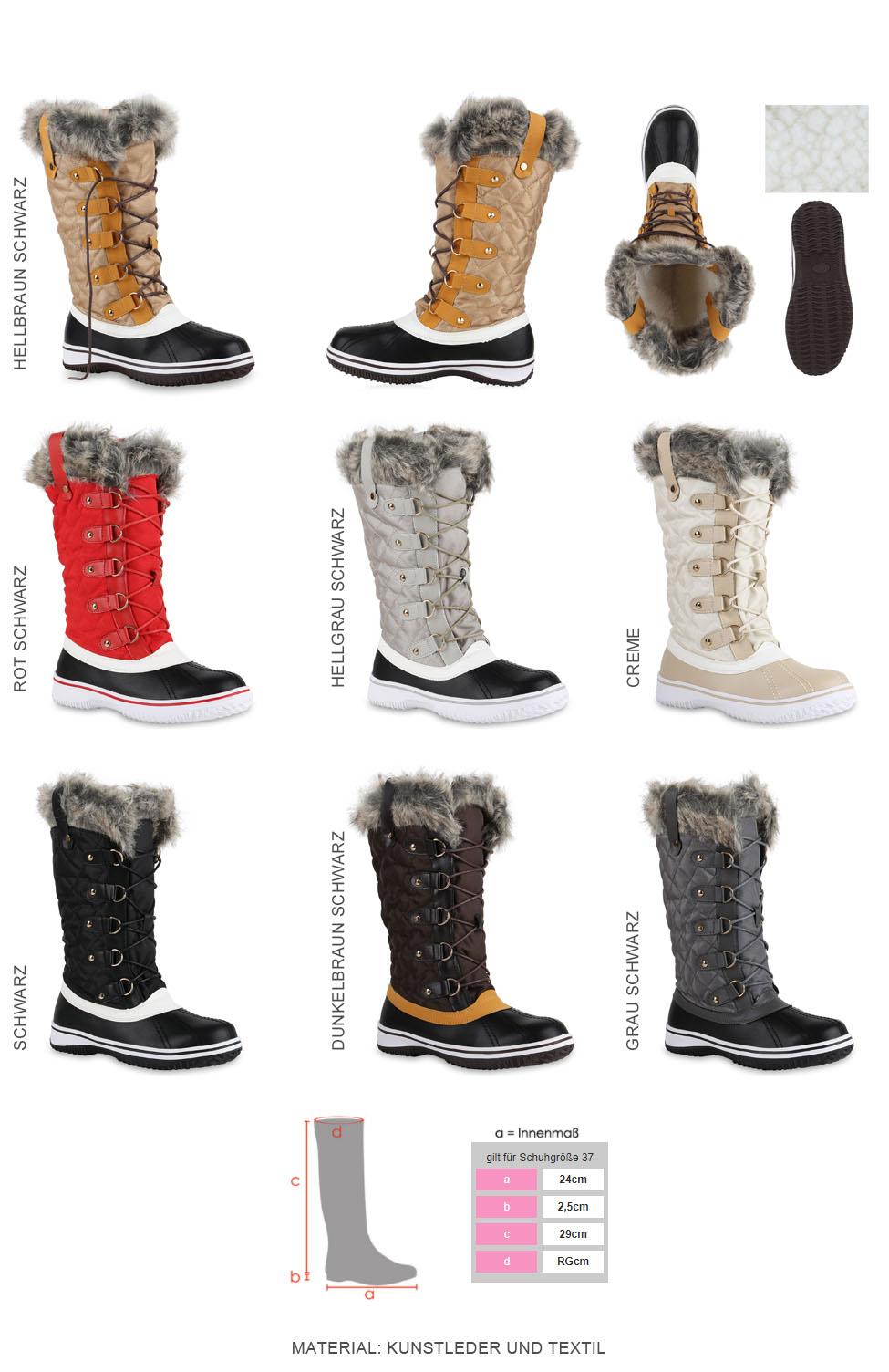 Details zu 892966 Warm Gefütterte Damen Stiefel Winterstiefel Snow Boots Schuhe Mode