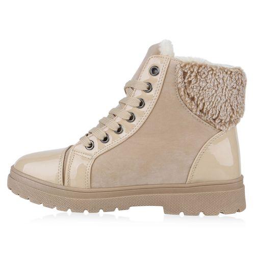 Damen Stiefeletten Winter Boots - Creme