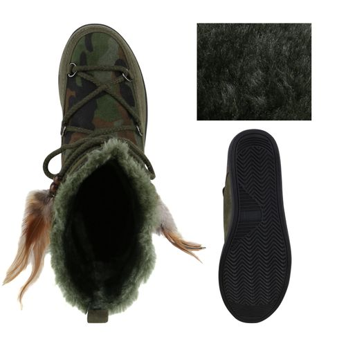 Damen Stiefeletten Keilstiefeletten - Camouflage