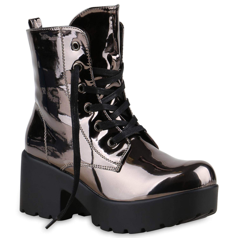 dfd1c83ef0a183 Damen Stiefeletten Schnürboots Metallic Lack Plateauschuhe 814093 Schuhe