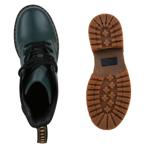 Damen Stiefeletten Worker Boots - Grün