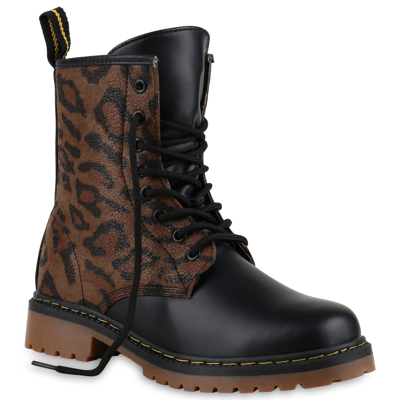 Damen Stiefeletten Worker Boots - Braun Leopard