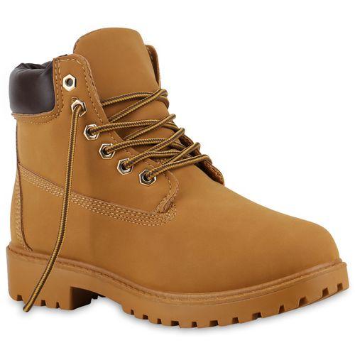 Damen Stiefeletten Worker Boots - Hellbraun Braun