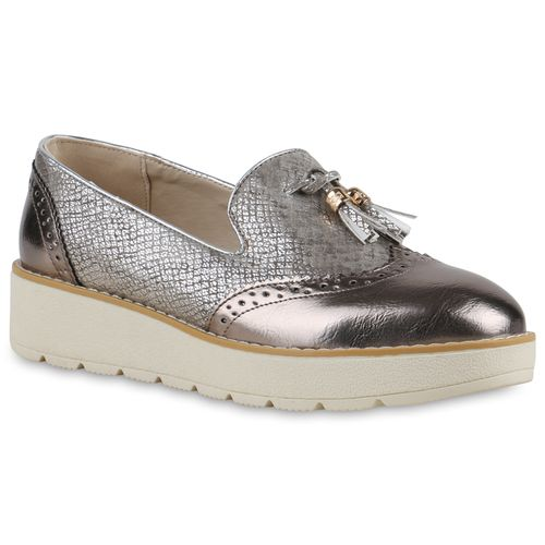 Damen Slippers Loafers - Bronze