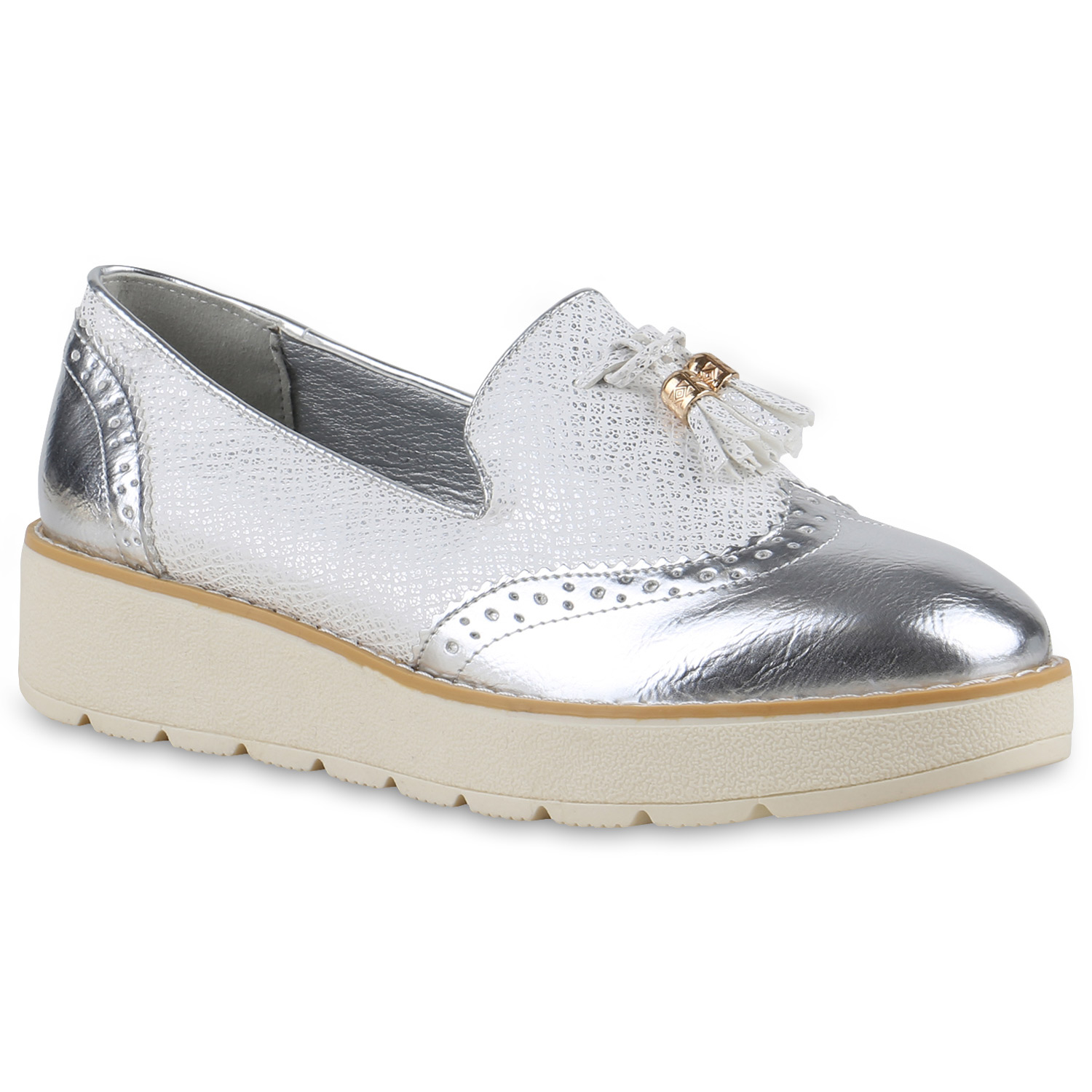 Damen Slippers Loafers - Silber