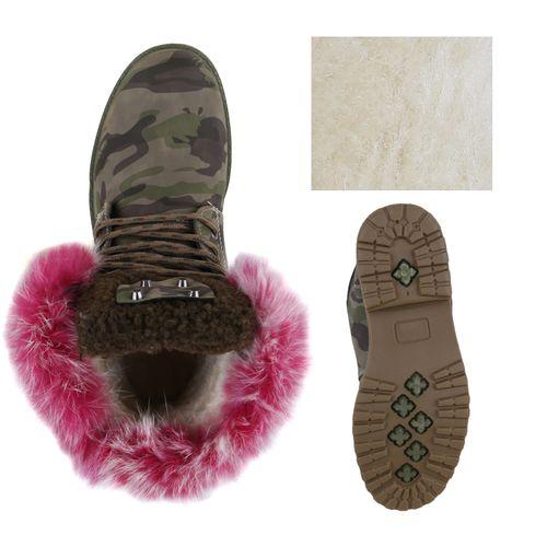 Damen Stiefeletten Worker Boots - Camouflage Pink