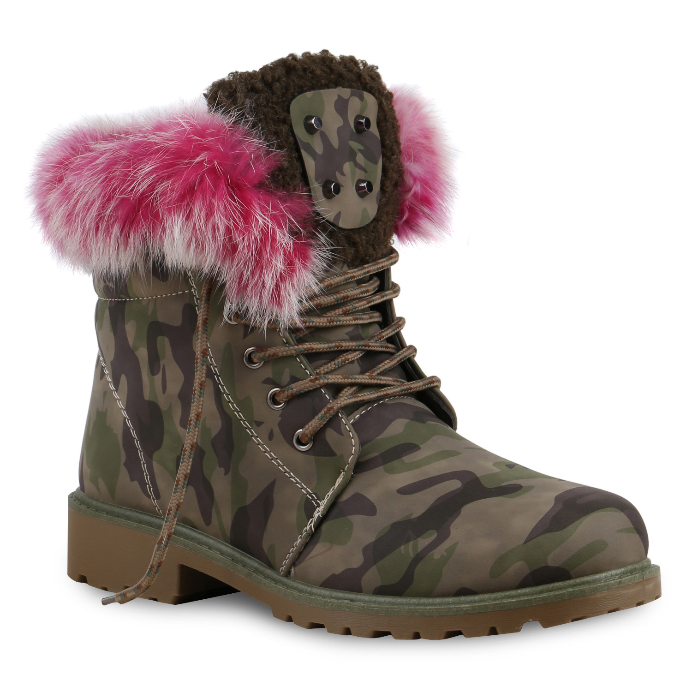 the best attitude 60307 d5e5d Damen Stiefeletten Worker Boots - Camouflage Pink