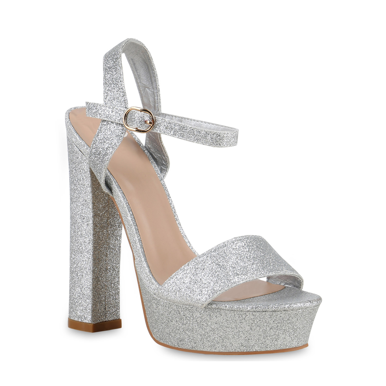 Damen Sandaletten Plateau Sandaletten - Silber