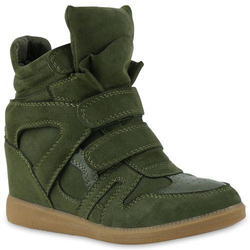Damen Sneaker Wedges - Dunkelgrün