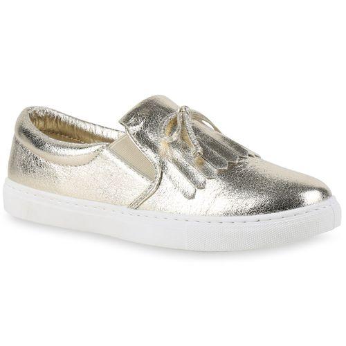 Damen Sneaker Slip Ons - Gold