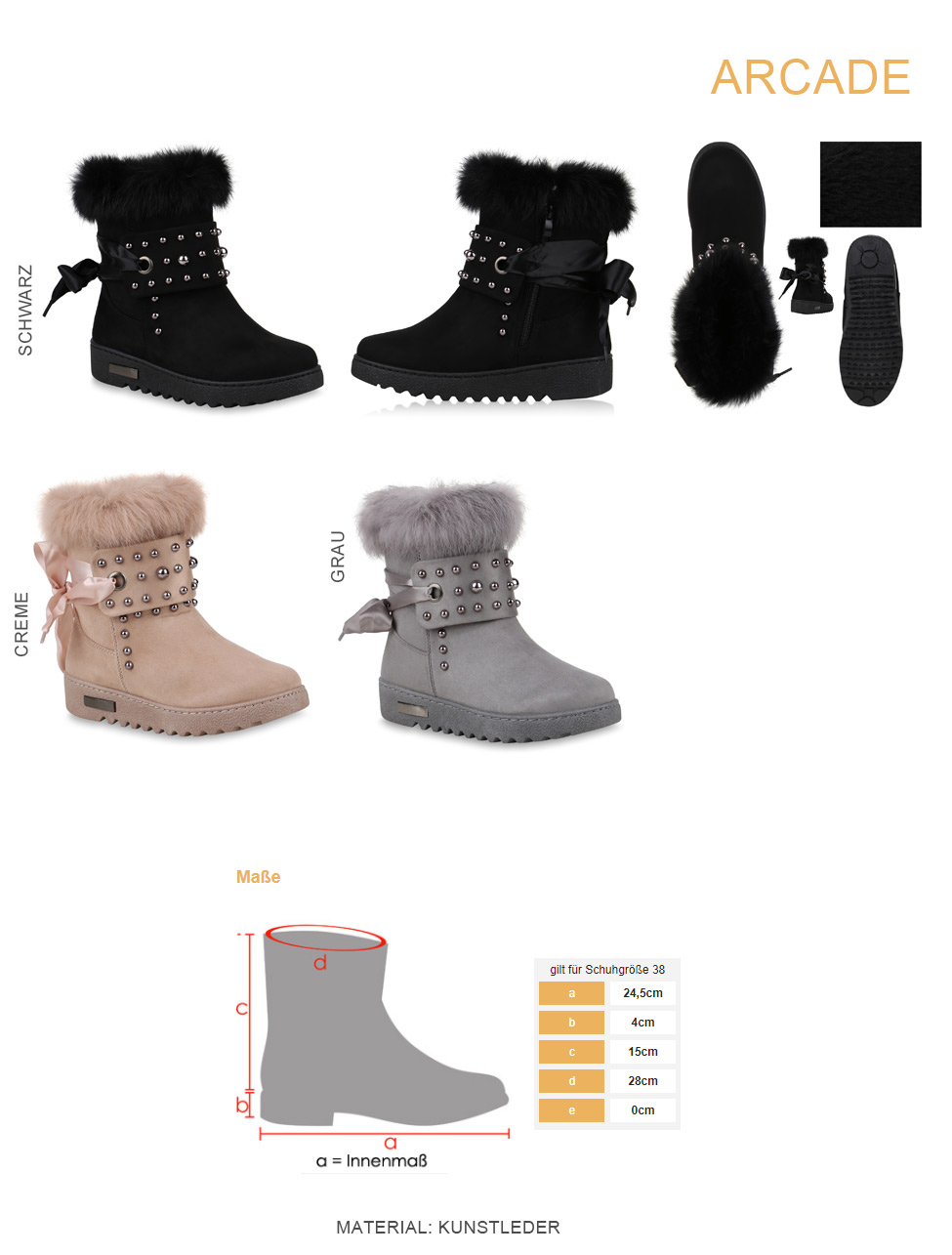 2e9e4ce7578d4 Details zu Warm Gefütterte Damen Stiefeletten Winterboots Fell Nieten  814300 Schuhe