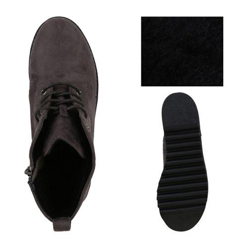 Damen Stiefeletten Plateau Boots - Grau