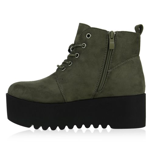 Damen Stiefeletten Plateau Boots - Dunkelgrün