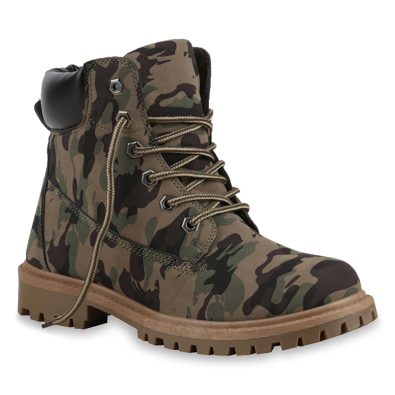 Damen Stiefeletten Worker Boots - Camouflage