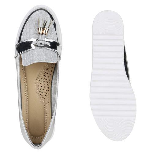 Damen Slippers Loafers - Silber