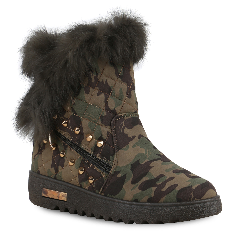 Damen Winter Stiefeletten Stiefeletten Boots Camouflage Winter Damen Boots WHIY29bEeD