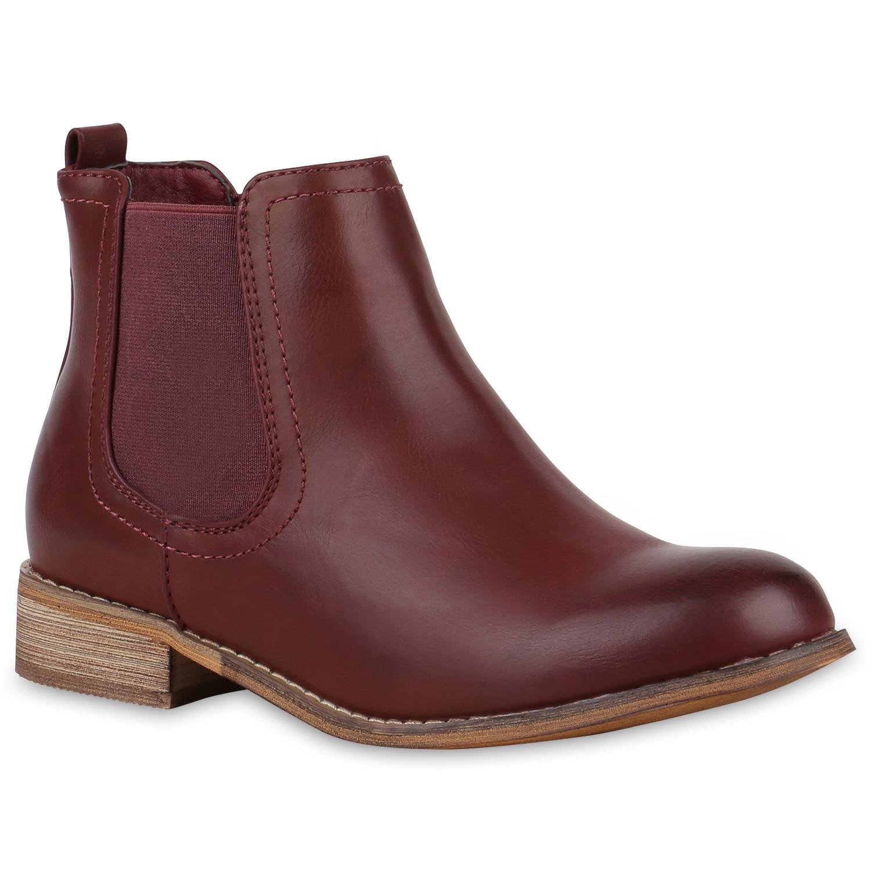 Stiefel für Frauen - Damen Stiefeletten Chelsea Boots Dunkelrot › stiefelpardies.de  - Onlineshop Stiefelparadies