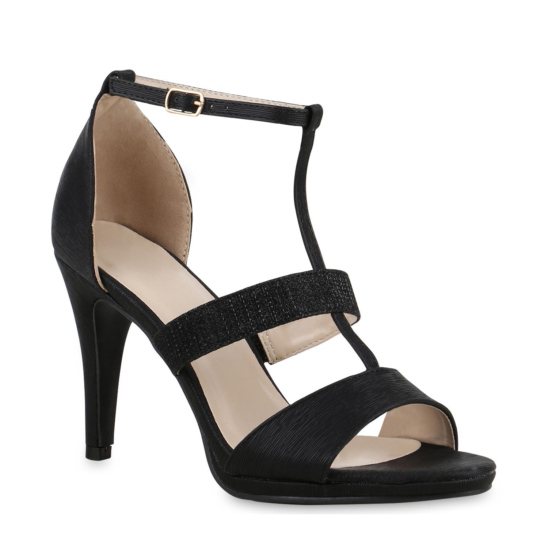 Damen Sandaletten Riemchensandaletten - Schwarz