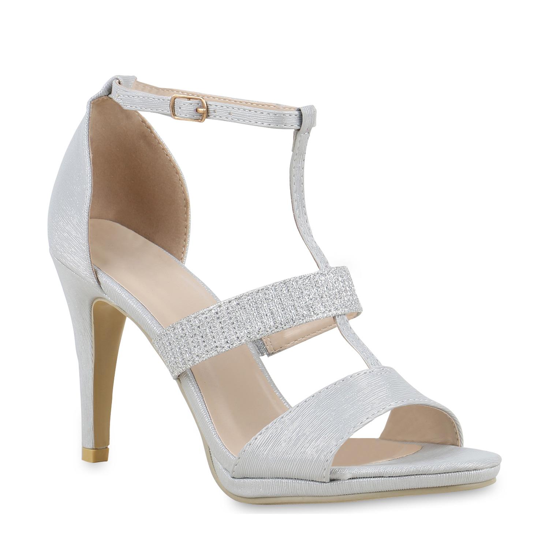 Damen Sandaletten Riemchensandaletten - Silber