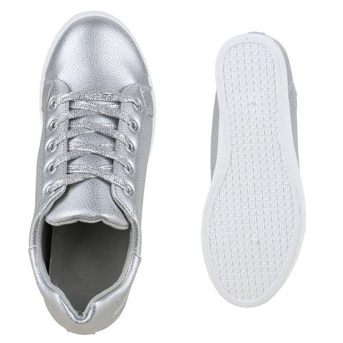 Damen Sneaker Wedges - Silber