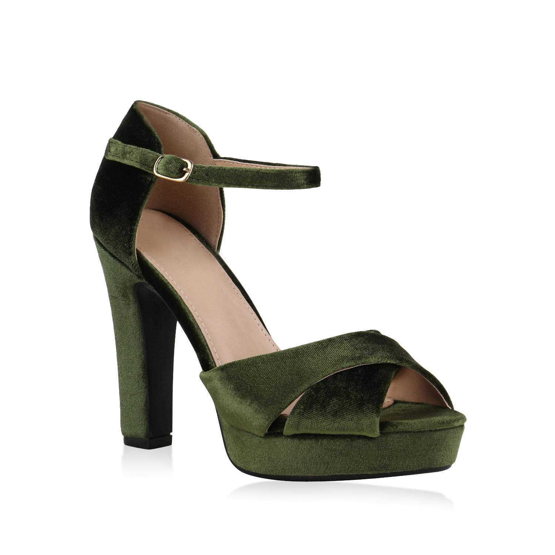Damen Plateau Sandaletten - Grün