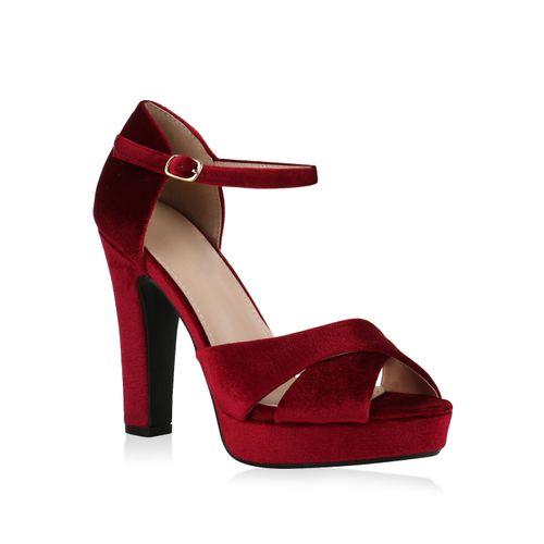 Damen Sandaletten Plateau Sandaletten - Rot