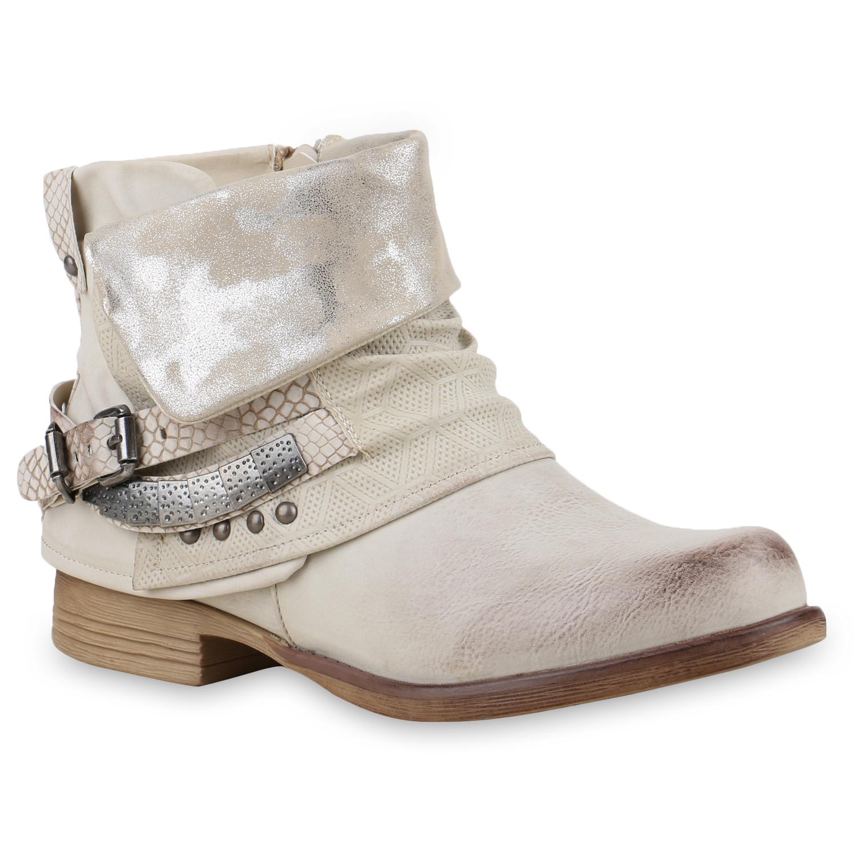 Stiefel für Frauen - Damen Stiefeletten Biker Boots Creme › stiefelpardies.de  - Onlineshop Stiefelparadies