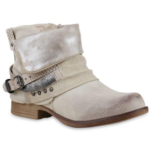 Damen Stiefeletten Biker Boots - Creme Silber