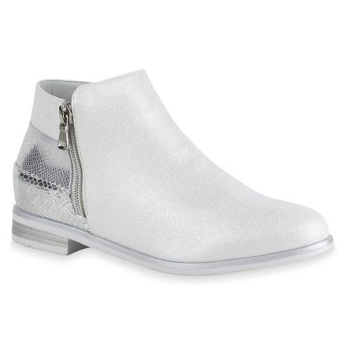 Damen Stiefeletten Ankle Boots - Silber