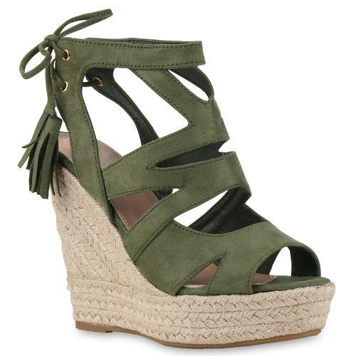 Damen Sandaletten Keilsandaletten - Dunkelgrün