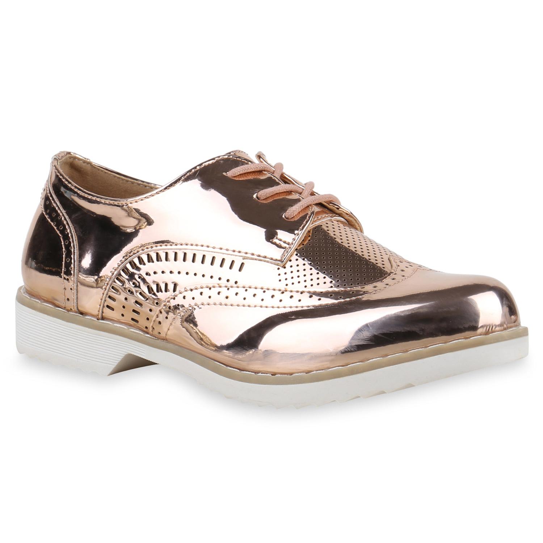 Halbschuhe für Frauen - Damen Halbschuhe Brogues Rose Gold  - Onlineshop Stiefelparadies