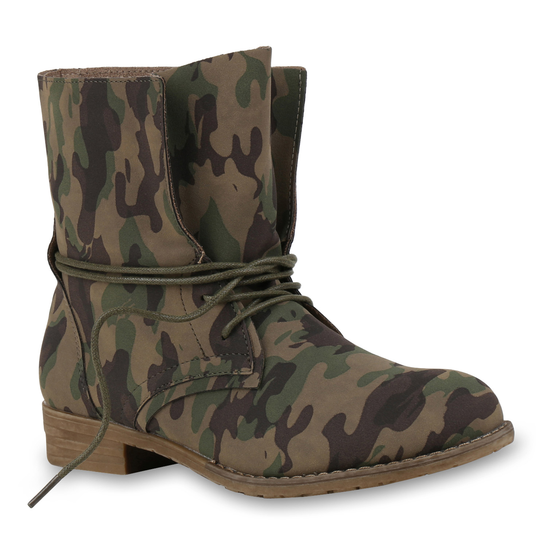 Damen Stiefeletten Schnürstiefeletten - Camouflage