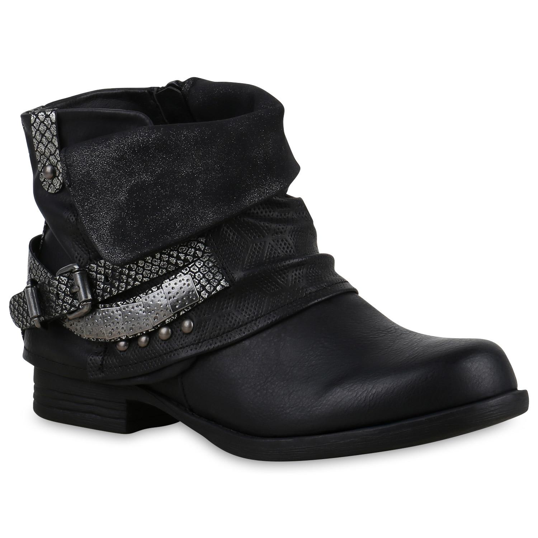 Damen Stiefeletten Biker Boots - Schwarz Silber