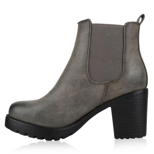 Damen Stiefeletten Chelsea Boots - Stone