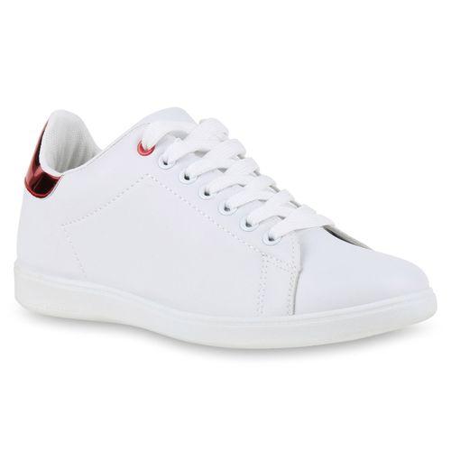 Damen Sneaker low - Weiß Rot Metallic