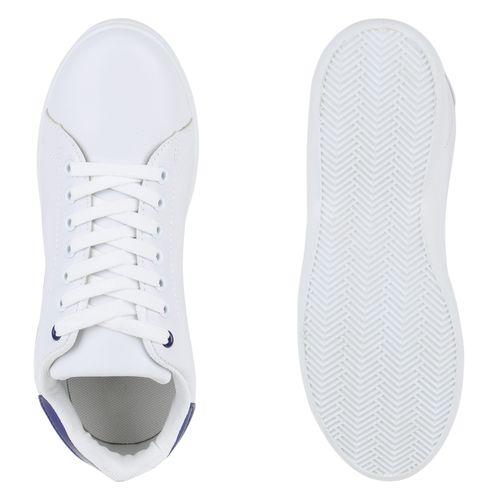 Damen Sneaker low - Weiß Blau Metallic