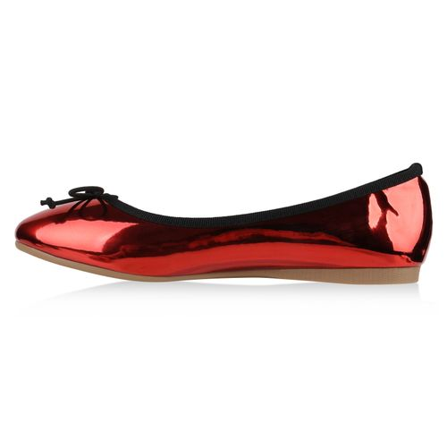 Damen Klassische Ballerinas - Rot Metallic