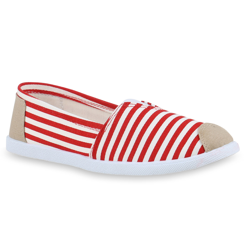 Slipper - Damen Slippers Slip Ons Rot › stiefelparadies.de  - Onlineshop Stiefelparadies