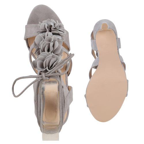 Damen Sandaletten High Heels - Grau