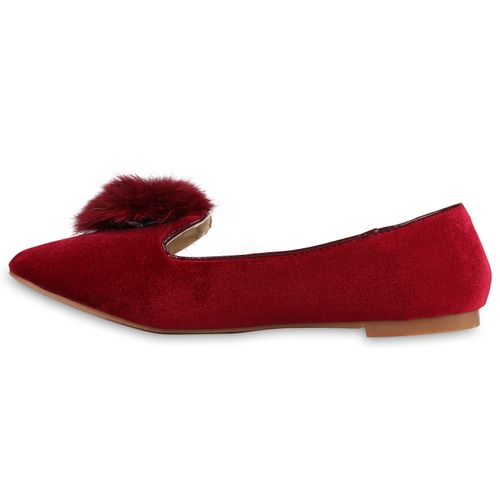 Damen Slippers Loafers - Rot