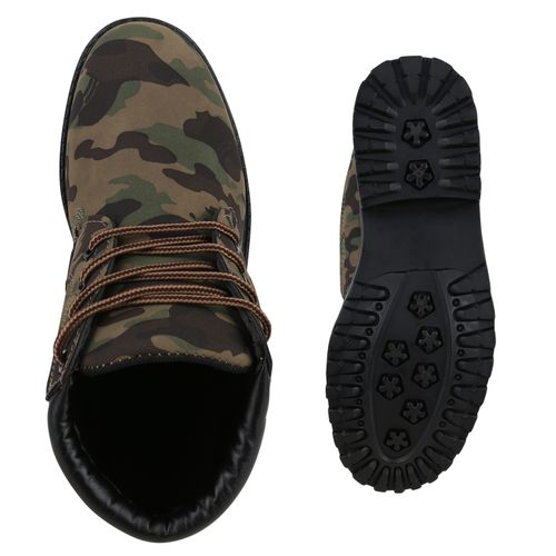 Damen Stiefeletten Worker Boots - Camouflage Grün