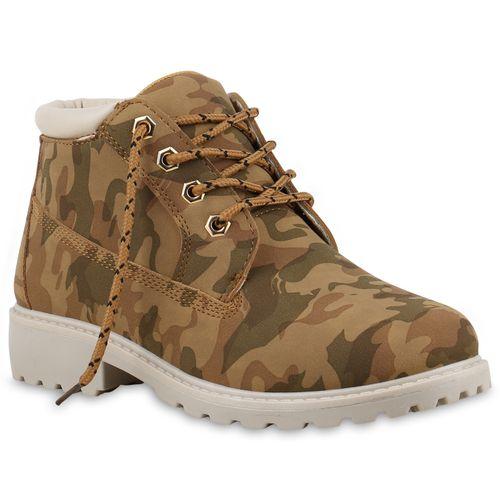 Damen Stiefeletten Worker Boots - Camouflage Braun