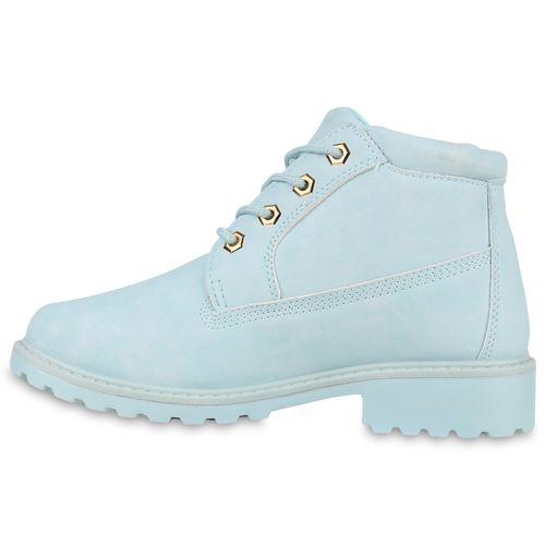 Damen Stiefeletten Worker Boots - Hellblau