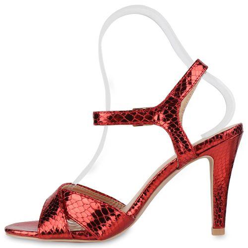 Damen Sandaletten Riemchensandaletten - Rot