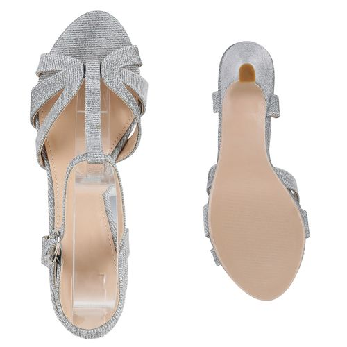 Damen Damen Riemchensandaletten Sandaletten Silber Riemchensandaletten Sandaletten Sandaletten Silber Damen Riemchensandaletten xqvqrwYB7