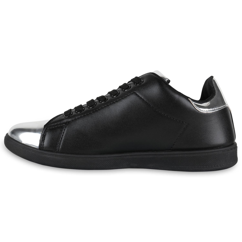Damen Sneakers Metallic Cap Sportschuhe Schnürer Freizeit Schuhe 814922 Mode