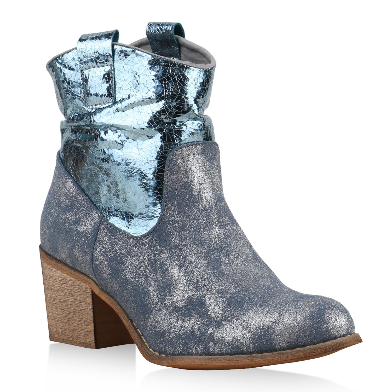 Damen Stiefeletten Cowboy Boots - Hellblau