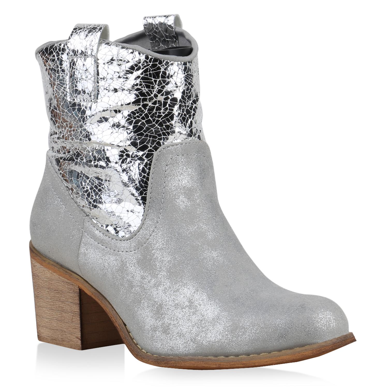 Damen Stiefeletten Cowboy Boots - Silber