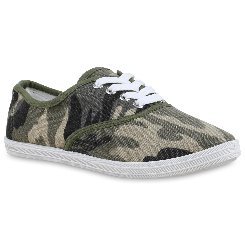 Damen Sneaker low - Camouflage Dunkelgrün