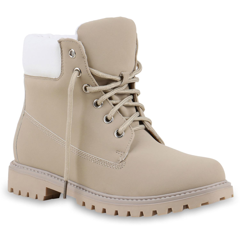 Damen Stiefeletten Worker Boots - Creme